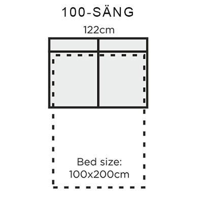 Bädd: 100x200cm
