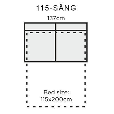 Bädd: 115x200cm