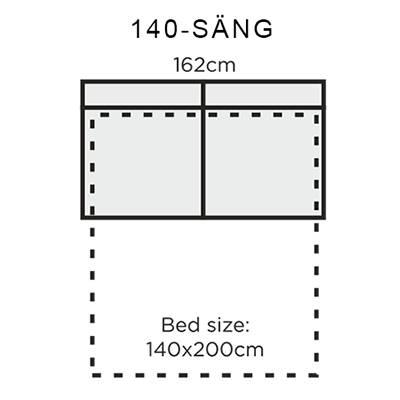 Bädd: 140x200cm