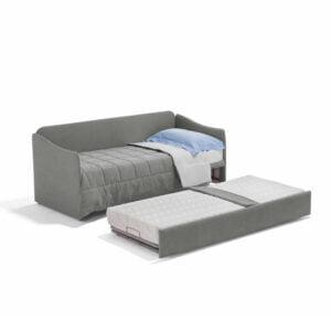 Flo dienne längsbäddad bäddsoffa med sänggavel